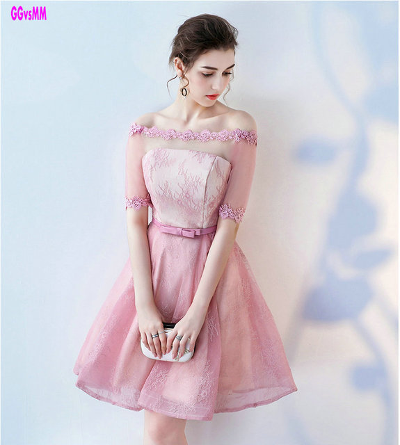 Fashion Pink Evening dresses 2018 New Sexy Boat Neck Built In Bra ...
