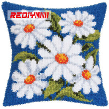LADIY Latch Hook Cushion Kit Yarn for Embroidery Cushion Cover White Daisy Pillow Case Chair Cushion Decorative Pillow BZ320(China)