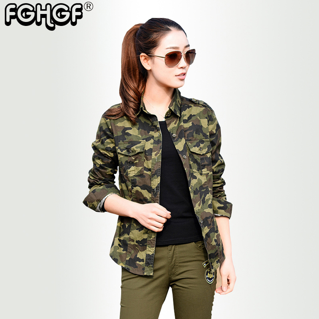 army blouse camouflage shirts women Cotton Military Long sleeve women  blouse 2018 New Casual Ladies Top Camisa Feminina 4801 d8083e9c935
