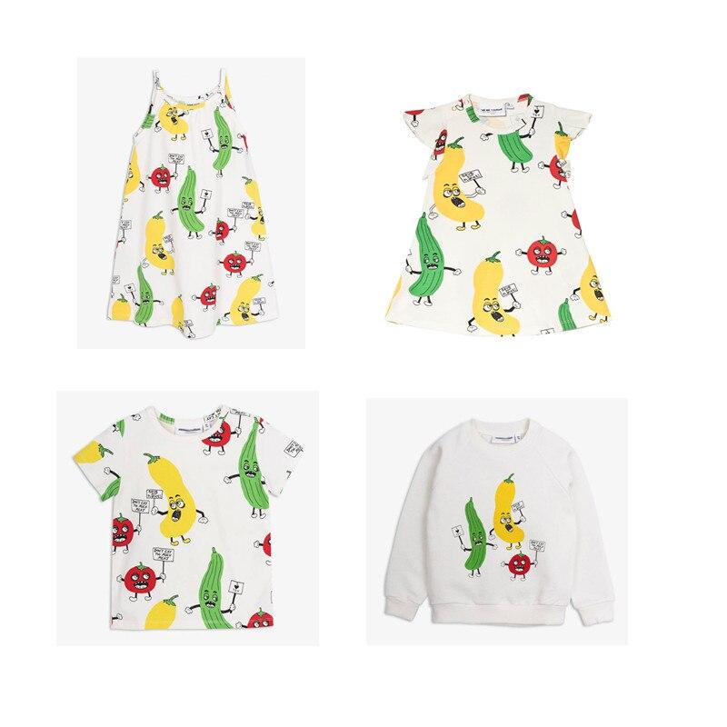 38ec3865aa5 BOBOZONE 2018 NEW Veggie serie print thin sweater dress tee for kids baby  girls top animal
