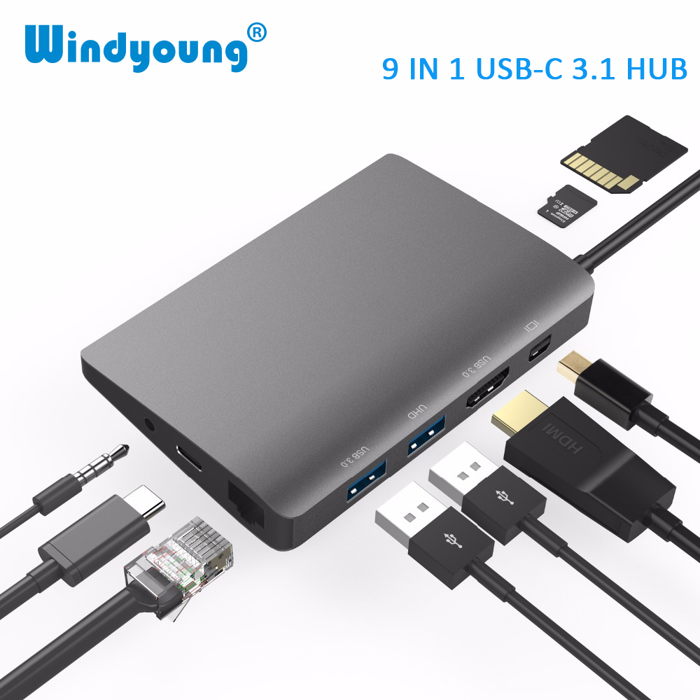 USB C tipo C para Macbook USB C a HDMI Mini DP 4K RJ45 Ethernet USB 3,0 base de carga para ordenador portátil Audio 3,5mm tipo C-in Concentradores USB from Ordenadores y oficina on AliExpress - 11.11_Double 11_Singles' Day 1