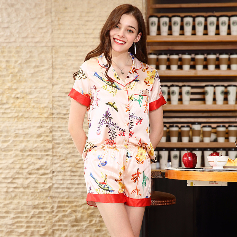 SSH0148 2018 New Brand   Pajamas   Floral Flower Short Sleeves and Shorts 2 Pieces   Pajama     Sets   Sexy V-neck Summer Sleepwear Pijamas