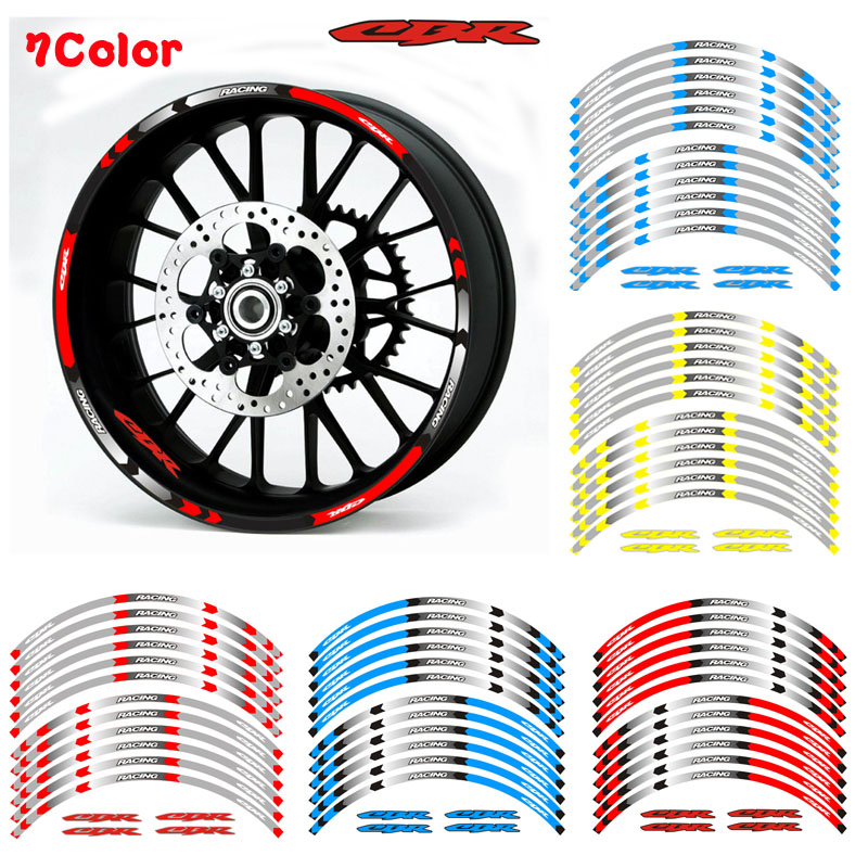 High Quality Motorcycle Wheel Sticker Decal Reflective Rim Bike Suitable For Honda CBR RR CBR CBR1000 600RR 650R 300R