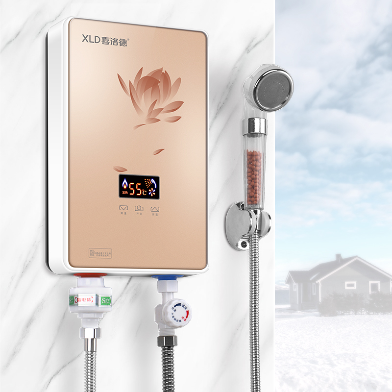 5500W Ultra Thin Mini Hot Electric Water Heater Household Wall Mounted Vertical Shower Bathroom Water Heating Machine Black