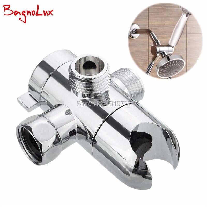 BagnoLux Wholosale 3-Way Water Separator Three Holes Handheld Shower Holder&Shower Head Shower Arm 3 Way Diverter Faucet Chrome