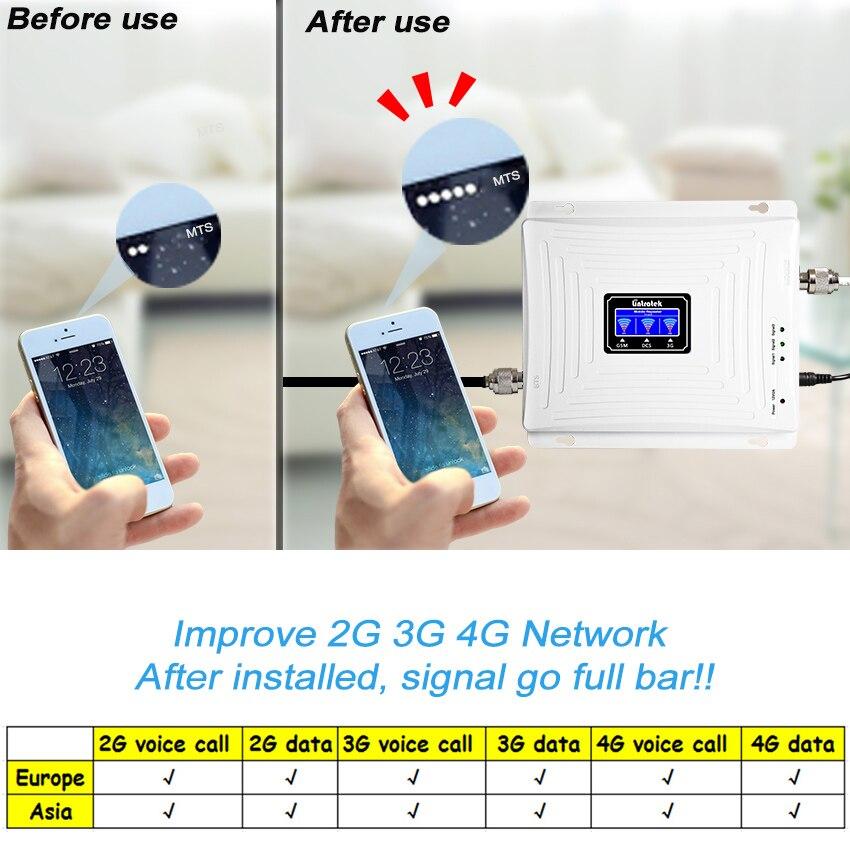 Lintratek большой трехполосный GSM 900 UMTS 2100 4G 1800 модуль GSM Мобильный усилитель сигнала двухкомнатный ретранслятор усилитель комплект бустер-репит...