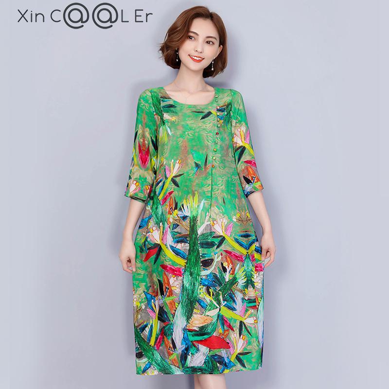 2019 New Free Shipping Fashion Summer New Dress Sleeve Shot Silk Female Loose Slim Women Work Wear Long Dresses Green Slim