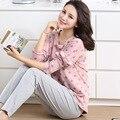 Pijamas das mulheres do ponto pulôver tops e solor sólida calça casual ternos pijamas salão roupas para casa das mulheres