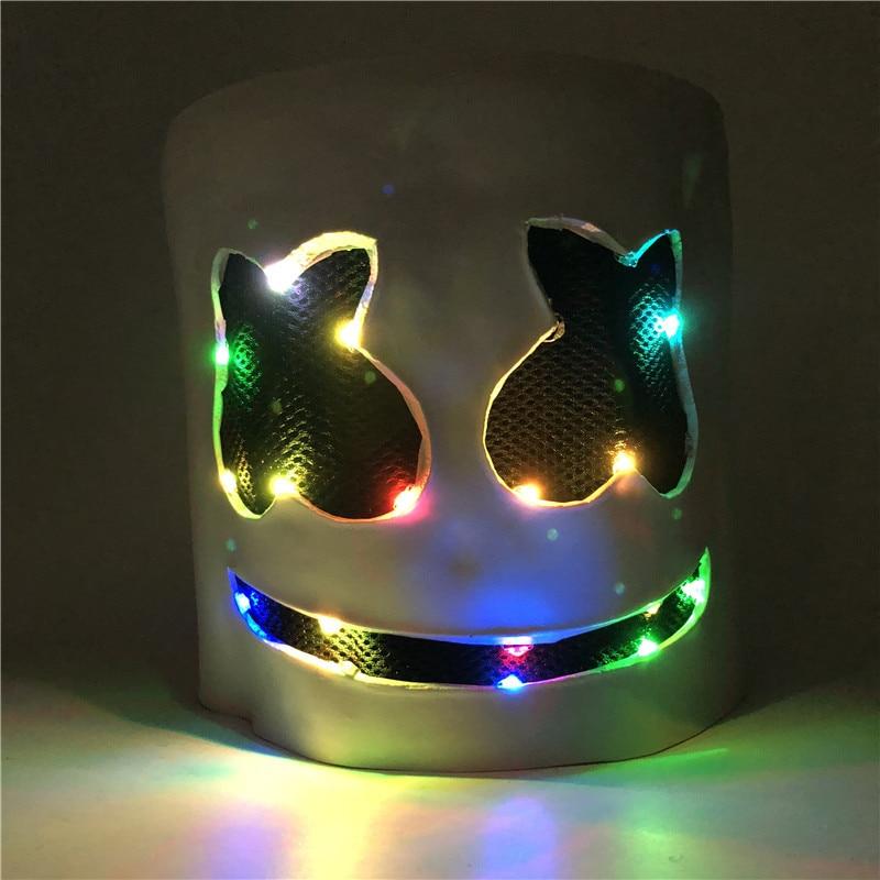 Cute Marshmallow Cosplay DJ Marshmello Carnaval Halloween Prop Latex Masks Headdress Accessories Latex Mask