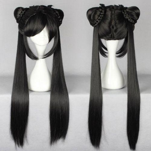 100% Brand New High Quality Fashion Picture wigs>>>Black Butler Kuroshitsuji CIEL long Phantomhive Ponytail Cosplay Anime Wig