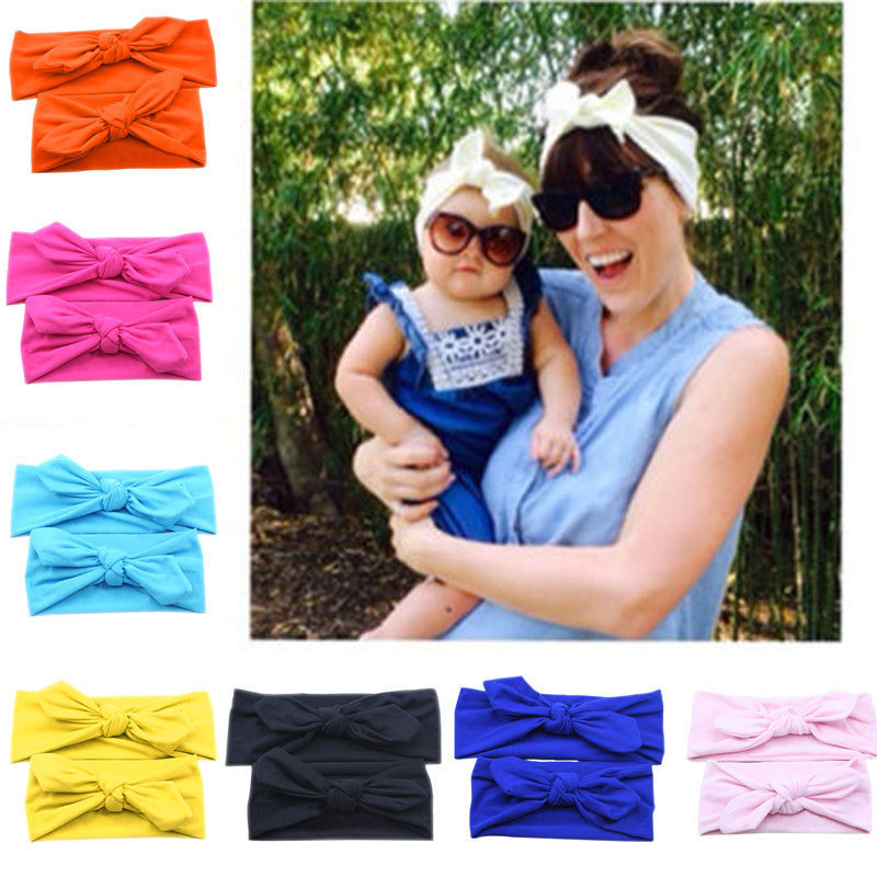 1 Set Mamma & Baby Headband Infant Girls Head Wraps Bomull Elastiska Band Ribbon Hair Bows Tiara Baby Headband Hår Tillbehör