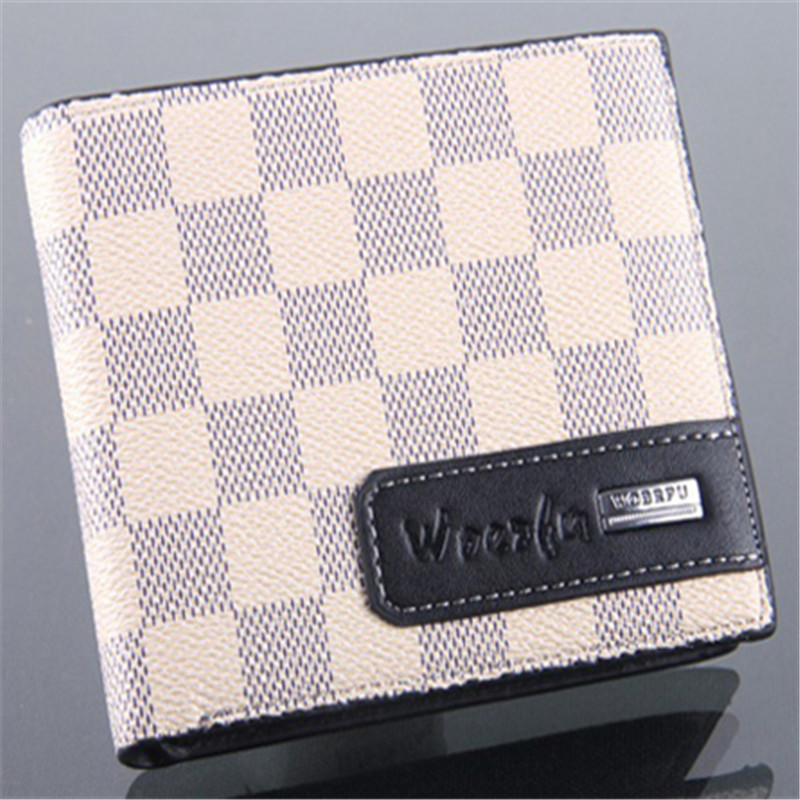 2016 new fashion mens brand leather wallet casual short design Check card holder money purse clips wallets for men #04 brand short leather men wallet new design casual money wallets coin pouch 2 folds card
