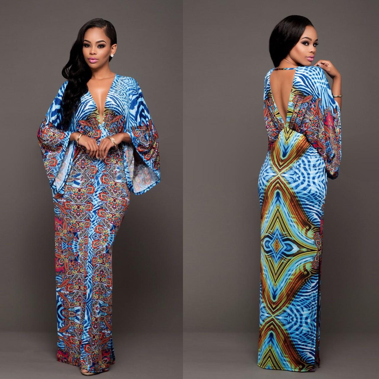 Robes Traditionnelles africaines Offre Spéciale Polyester Robes 2017  Nouvelles Femmes de Mode Élégante Impression Femmes des Vêtements V Profond  Retour de