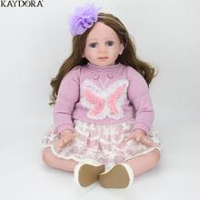 KAYDORA 24inch 60cm Bebe Alive Doll Cute Soft Silicone Reborn Kids Dolls Little Girl Toy With Purple Butterfly Dress