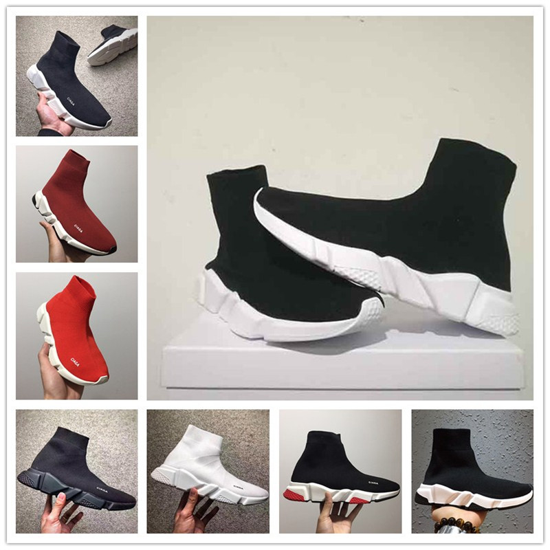 Wholesales New Paris Speed Runner Knit Sock Shoe Original Luxury Trainer Runner Sneakers Race Mens Women Sports Shoe Without Box
