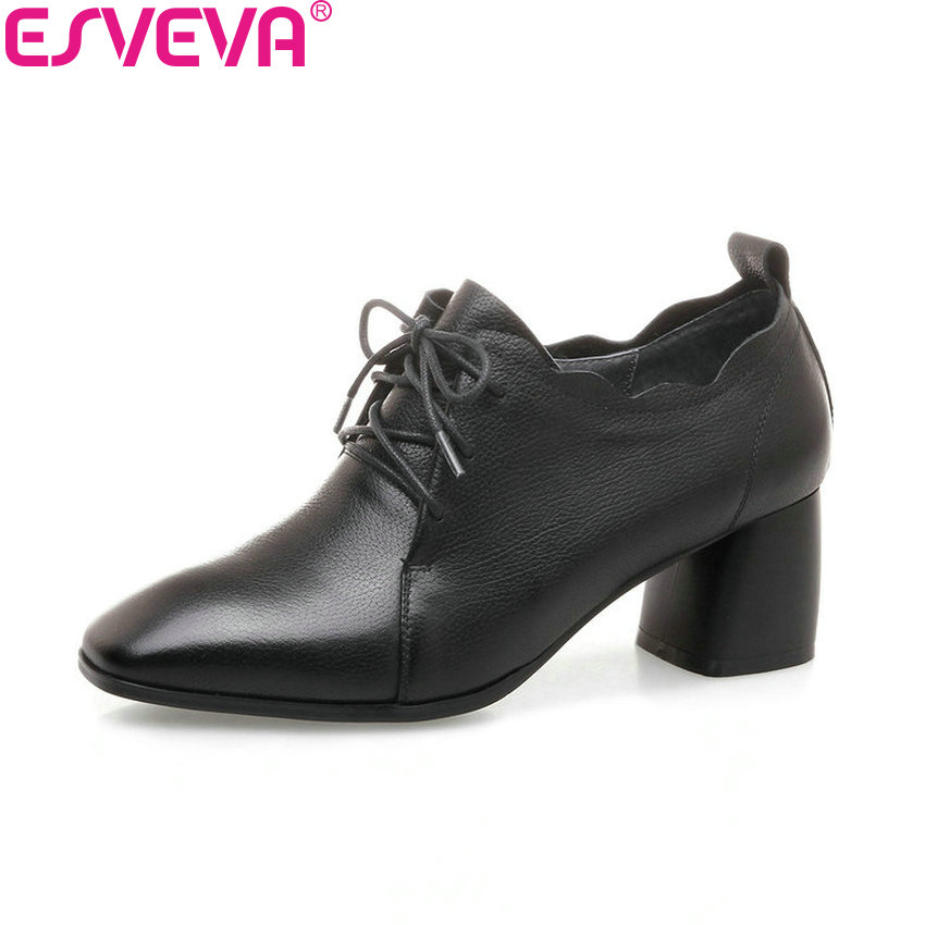 ESVEVA 2018 Spring and Autumn Women Pumps Sweet Style Square High Heel Cow Leather PU Square Toe Lace Up Ladies Shoes Size 34-42 стоимость
