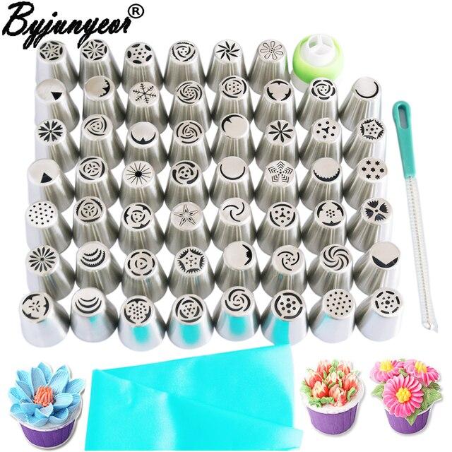Byjunyeor boquillas de acero inoxidable para glaseado de repostería, 57 Uds., boquillas rusas, consejos de decoración de pasteles, herramientas para hornear pasteles, CS001