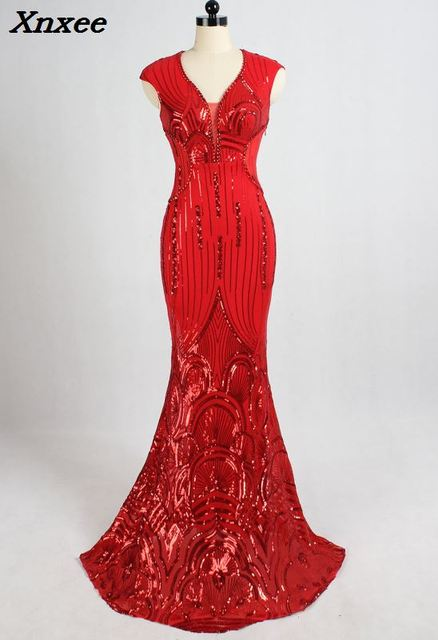 2018 Luxury Red Beads Spandex Dress Long Evening Party Club Woman V Neck Mermiad Sexy Sequined Dress Formal Prom Gowns Vestidos