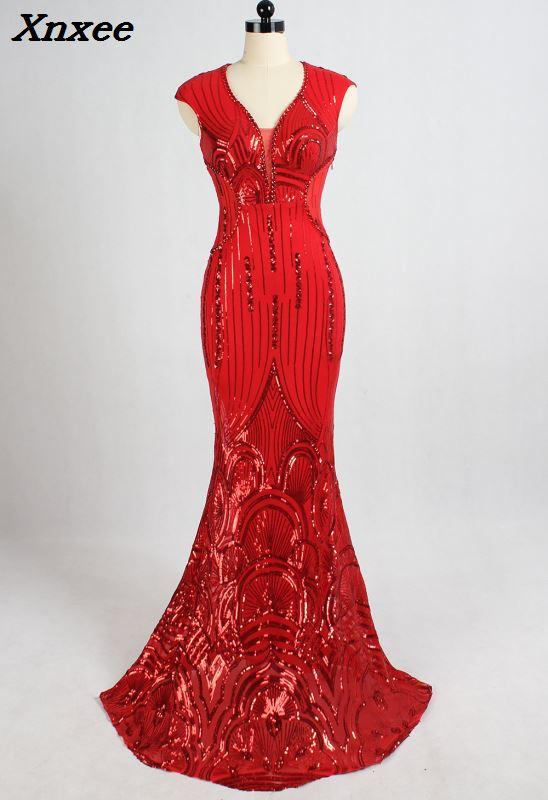 2018 luxe rouge perles Spandex robe longue soirée Club femme col en V Mermiad Sexy robe à paillettes formelle robes de bal robes