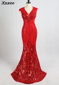 2018 contas vermelhas de luxo vestido elastano longo festa à noite clube mulher com decote em v mermiad sexy lantejoulas vestido formal vestidos formatura