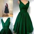 Elegante Verde Esmeralda 1950 s 2016 Comprimento Chá Do Vintage Plus Size Chiffon V Mangas Pescoço Sobreposição Simples Vestidos de Baile