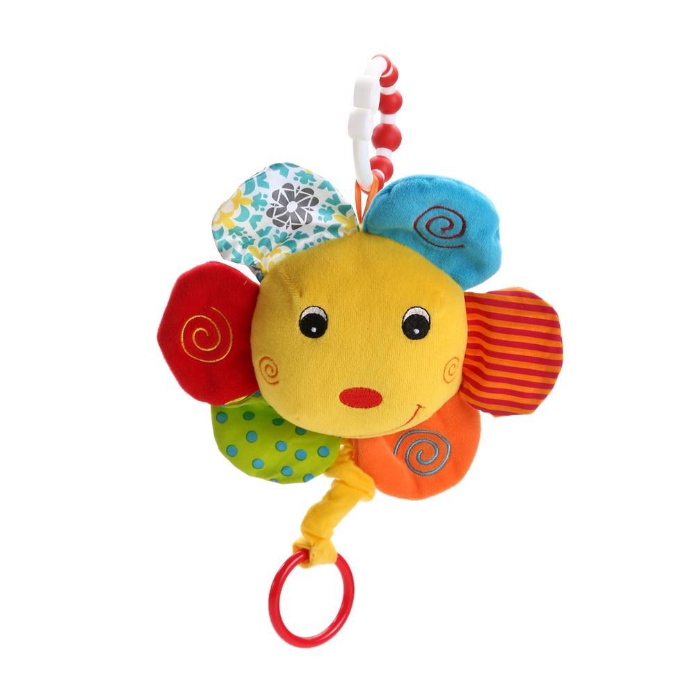 Baby Træk Ring Bed Hængende Plys Doll Dukke Hånd Håndtag Bomuld Musik Toy (Solsikke) Barnevogn Tilbehør Legetøj