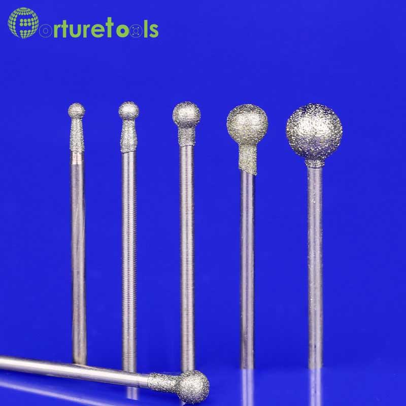 50 sztuk diamentowy punkt dremel obrotowy narzędzia montowane koła Głowica dia 1.0 ~ 8.0mm Shank dia 2.35mm kształty typ F MT002