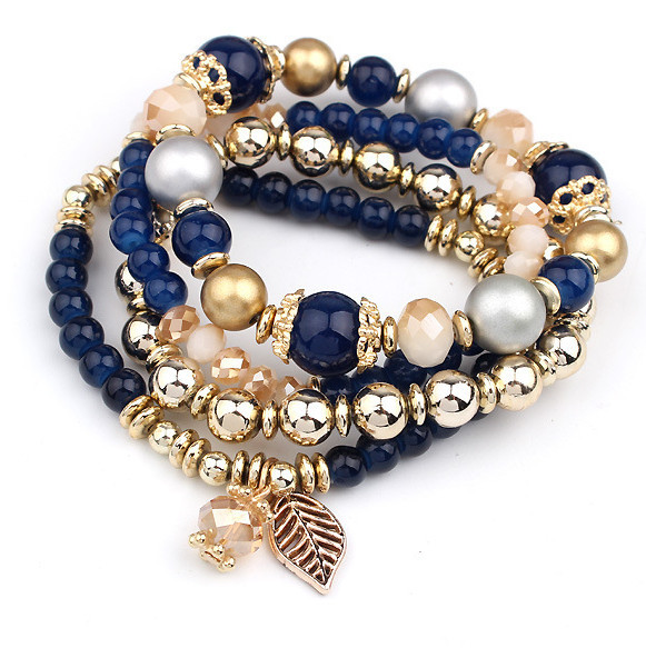 LEMOER 4 יח'\סט מעצב אופנה רב שכבתי קריסטל חרוזים להשאיר טאסל צמידים & צמידי Pulseras Mujer תכשיטים לנשים מתנה