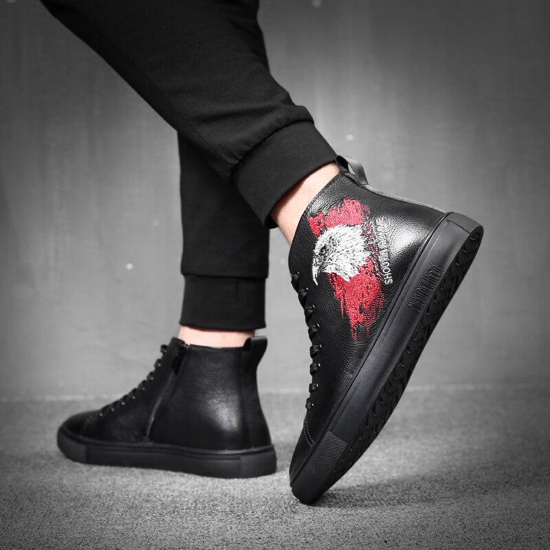 outono Homens Alta Ankle Confortáveis Couro Preto De Genuíno Maré Moda Top Black Boots Sapatos Dos Botas Heinrich Primavera E5gBwqC1