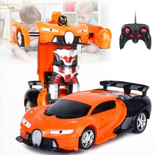 лучшая цена 2 In 1 RC Car Sports Car Transformation Robots Models Remote Control Toy Kids(orange)