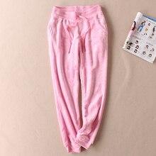 Women sleep trousers winter pajama pants Coral fleece warm