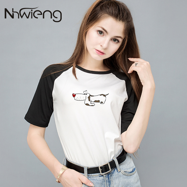 2018 Skinned Dog Print Summer Women Blouse Shirt Raglan Sleeve Cute Female Blusas Femininas Camisetas Mujer Clothing Tops Shirts