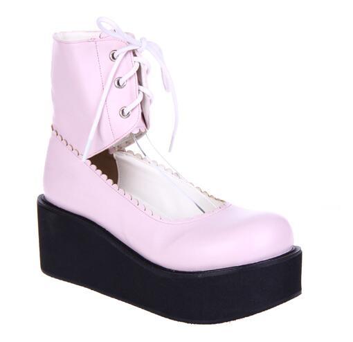 Chica Tacones Impresión 5 rosado Mori Mujer 6 47 Plataformas Bombas Angelical Negro Zapatos Princesa blanco Cosplay Mujeres Cm Lolita 33 Señora Vestido ffE8Txr