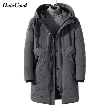 HALACOOD Men Winter Long Thick Parkas Jacket Outerwear Plus Size Male Fashion Casual Loose Warm Cotton Padded Coat Mens Overcoat