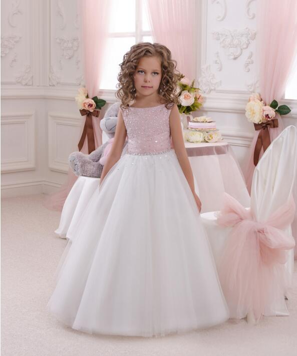 New Princess White Pink for Girls First Communion Dress Pageant Gown Rhinestone Tulle 2018 New Arrival Flower Girl Dress Custom easter rhinestone flower white top girl pink white dot waist rainbow skirt 1 8y mg1227