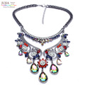 New Arrival colorful fashion crystal necklace & pendant chunky luxury bib  pendant choker maxi Necklace statement  jewelry women