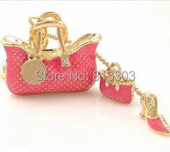 Bling Bling Alloy Keychains Fashion High Heels Shoe Keyring Handbag Decoration Jewelery  ...