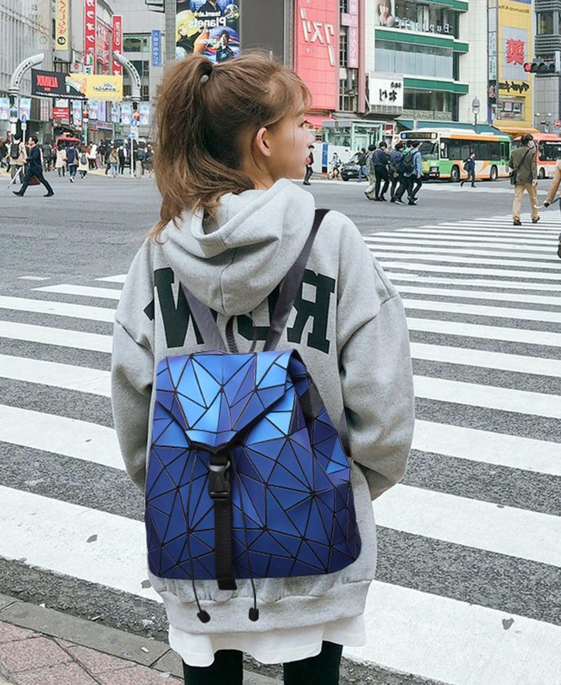 Nevenka Diamond Lattice Backpack Women Backpack Leather Creative Geometric Backpacks Drawstring Backpacks for Teenager Girl 201822