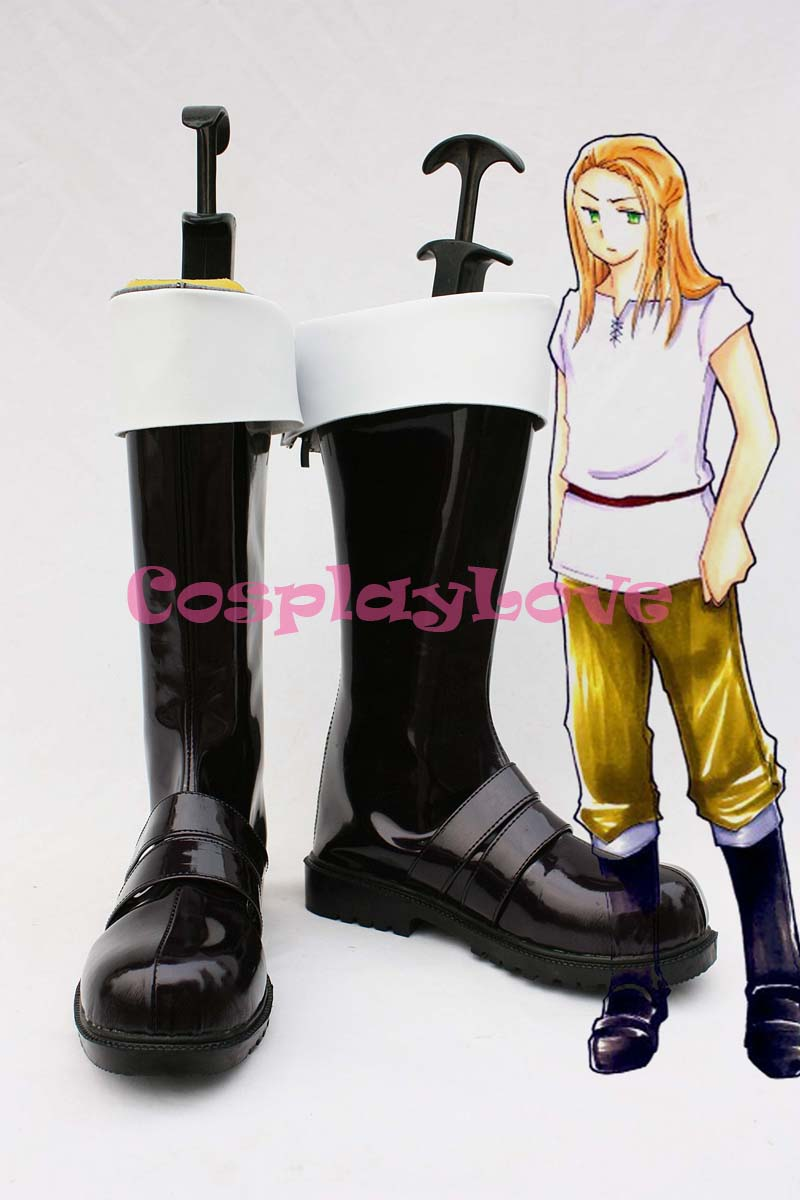 Custom Black Germanic Cosplay Shoes Boots from Axis Powers Hetalia Cosplay For Halloween Christmas