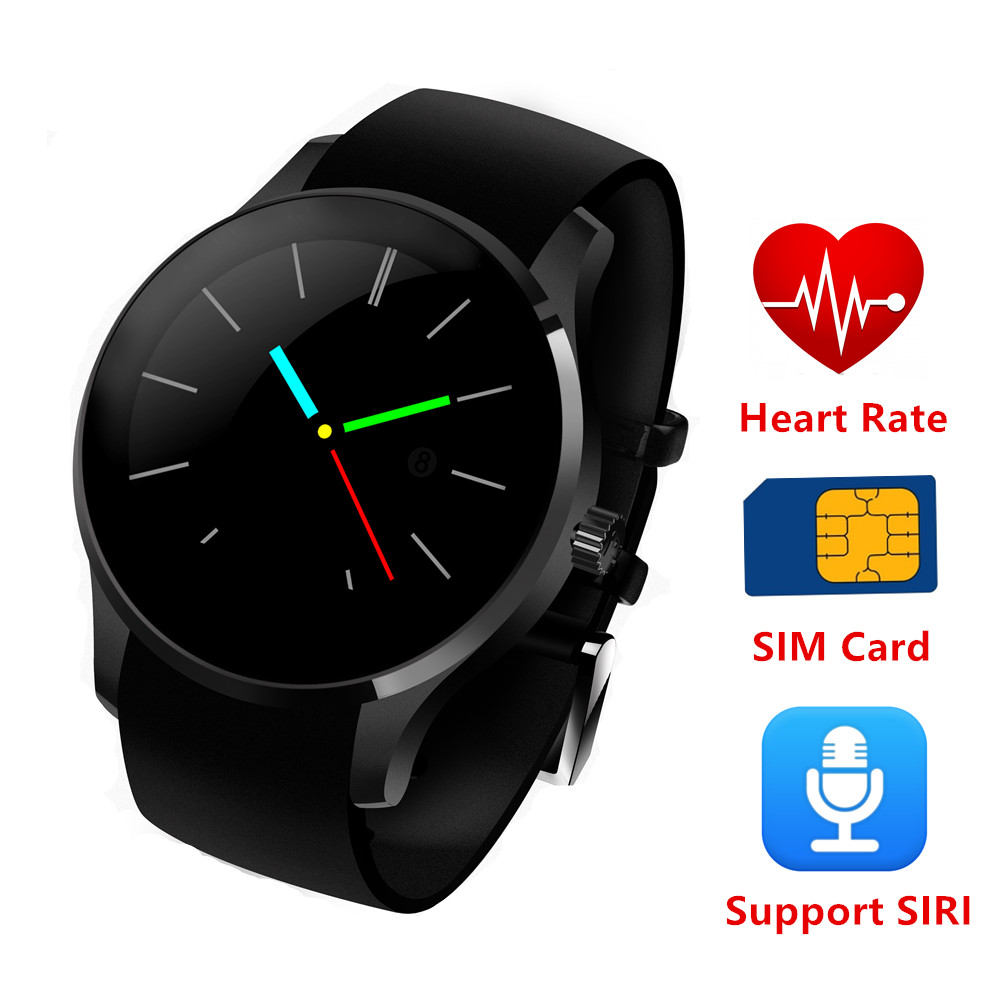 Round Metal font b Smartwatch b font K88S smart watch with SIM card Heart Rate Monitor