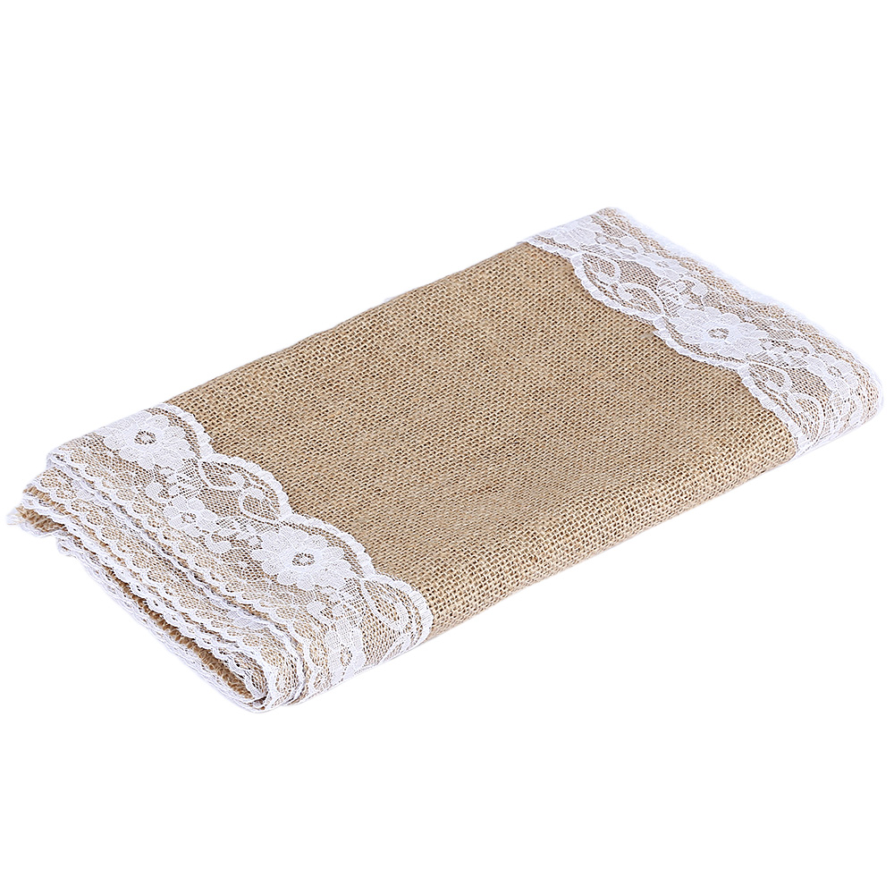 Luxury Burlap And Lace Table Runner Wedding Decoration