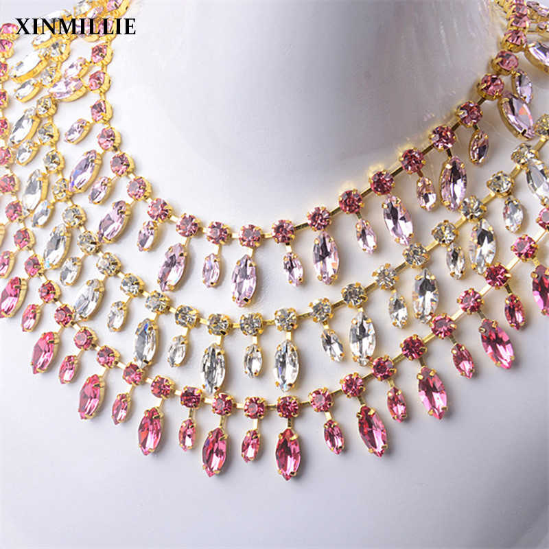Custom design crystal AAA rhinestone applique sewing trimmings flower chain  wedding party dress 09a29bf77dc7