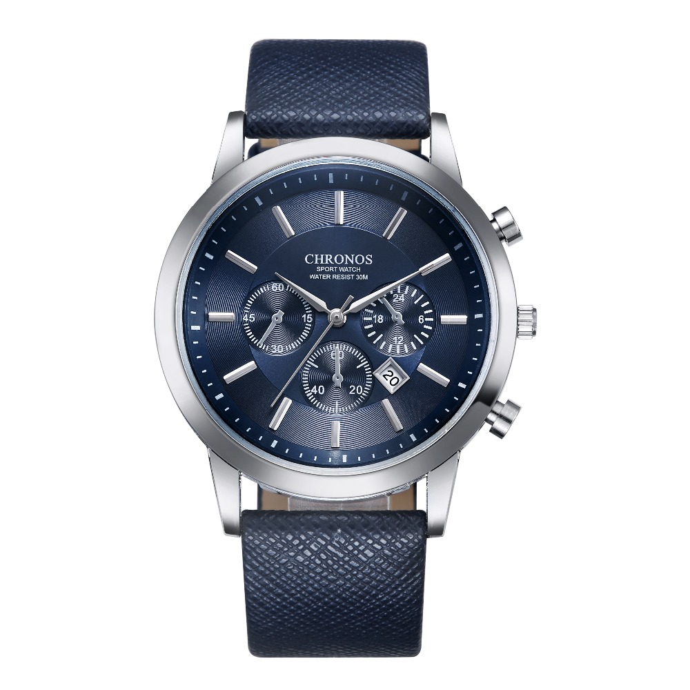 CHRONOS Watch Men Sport Watch Mens Watches Top Brand Luxury Men's Watch Leather Calendar Clock Relogio Masculino Reloj Hombre