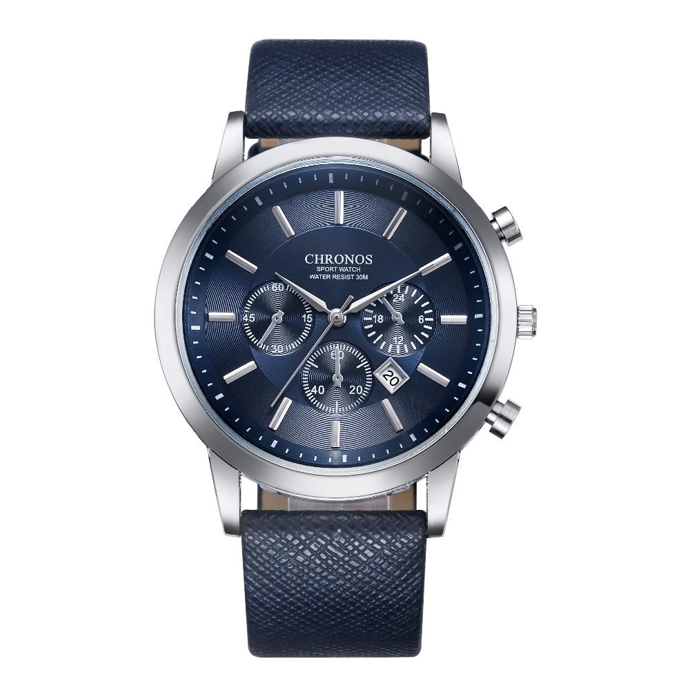 CHRONOS Assista Men Sport Watch Mens Relógios Top Marca de Luxo Dos Homens Relógio De Couro Relógio Calendário relogio masculino reloj hombre