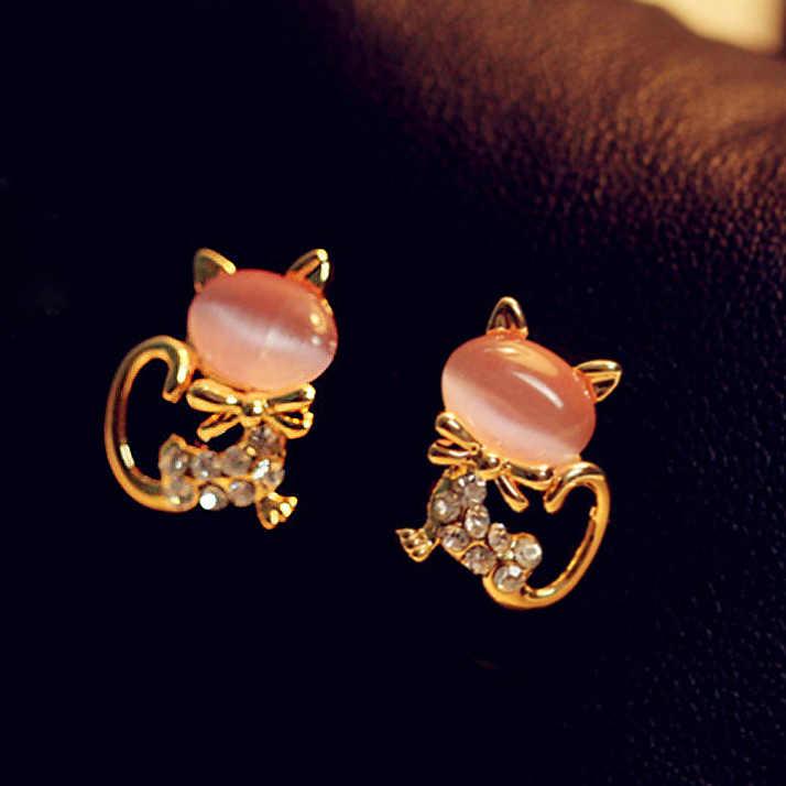 489db8bb3eff3 Korean Fashion Cute Cat Opal Stone Stud Earrings Piercing Crystal  Rhinestone Women Earrings Wedding Pretty Girl Animal Brincos