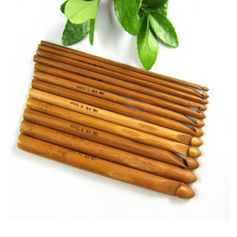 12 Pcs Bamboo Handle Crochet Hook Knit Weave Yarn Craft DIY Knitting Needle Set Home Weave Yarn Sweater Crafts Hooks Knit Tools