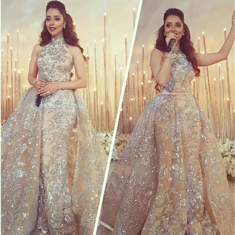 Detachable Muslim   Evening     Dresses   2019 Mermaid High Collar Lace Plus Size Islamic Dubai Saudi Arabic Long Formal   Evening   Gown