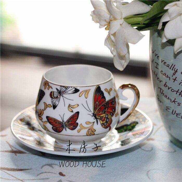 Décorations de noël pour la maison tasse papillon français pastorale tasse à café tasse à thé noir tasse à thé fleur