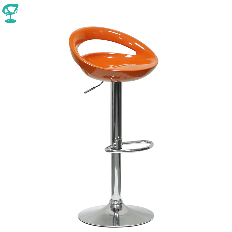 94342 Barneo N-6 Plastic High Kitchen Breakfast Bar Stool Swivel Bar Chair Orange Free Shipping In Russia