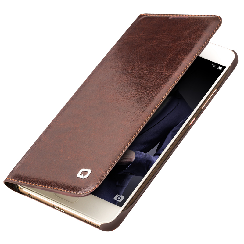 QIALINO ՆՈՐ դեպքեր Huawei Ascend P10- ի գումարած շքեղ իրական կաշվե մատով խցիկի համար Huawei P10 նորաձևության համար Պաշտպանական հետևի պայուսակ